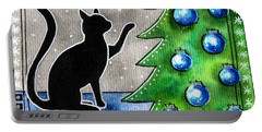 Just Counting Balls - Christmas Cat Portable Battery Charger