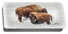Juvenile Bison With Adult Bison Portable Battery Charger
