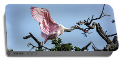 Juvenile Roseate Spoonbill Readying Its Wings Portable Battery Charger
