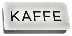 Portable Battery Charger featuring the mixed media Kaffe Sign- Art By Linda Woods by Linda Woods