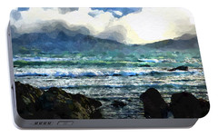 Portable Battery Charger featuring the digital art Kaikoura Seascape by Kai Saarto