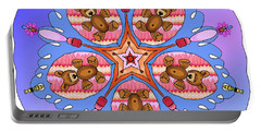 Kaleidoscope Of Bears And Bees Portable Battery Charger by Debra Baldwin