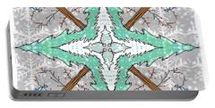 Kaleidoscope Of Winter Trees Portable Battery Charger by Debra Baldwin