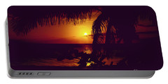 Portable Battery Charger featuring the photograph Kamaole Tropical Nights Sunset Gold Purple Palm by Sharon Mau