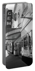 Portable Battery Charger featuring the photograph Kansas City - Gem Theater 2 Bw  by Frank Romeo