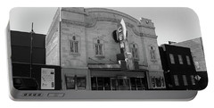 Portable Battery Charger featuring the photograph Kansas City - Gem Theater Bw by Frank Romeo