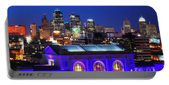 Kansas City Skyline At Night Portable Battery Charger