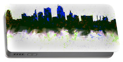 Kansas City Skyline Blue  Portable Battery Charger