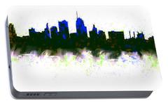 Kansas City Skyline Blue  Portable Battery Charger by Enki Art