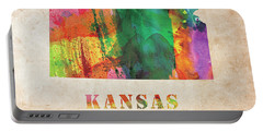 Kansas Colorful Watercolor Map Portable Battery Charger