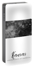 Kansas State Map Art - Grunge Silhouette Portable Battery Charger