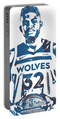 Karl Anthony Towns Minnesota Timberwolves Pixel Art 15 Portable Battery Charger