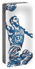 Karl Anthony Towns Minnesota Timberwolves Pixel Art 17 Portable Battery Charger