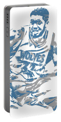 Karl Anthony Towns Minnesota Timberwolves Pixel Art 5 Portable Battery Charger