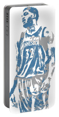 Karl Anthony Towns Minnesota Timberwolves Pixel Art 6 Portable Battery Charger