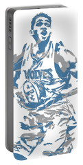 Karl Anthony Towns Minnesota Timberwolves Pixel Art 9 Portable Battery Charger
