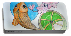Karp And Cherry Blooms Portable Battery Charger