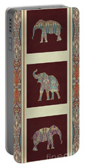 Kashmir Elephants - Vintage Style Patterned Tribal Boho Chic Art Portable Battery Charger by Audrey Jeanne Roberts