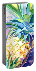 Portable Battery Charger featuring the painting Kauai Pineapple 3 by Marionette Taboniar