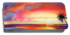 Portable Battery Charger featuring the painting Kauai West Side Sunset by Marionette Taboniar
