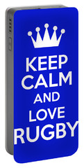 Keep Calm And Love Rugby Portable Battery Charger