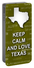 Keep Calm And Love Texas State Map City Typography Portable Battery Charger by Keith Webber Jr
