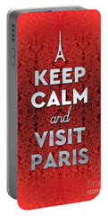 Keep Calm And Visit Paris Opera Garnier Floral Wallpaper Portable Battery Charger
