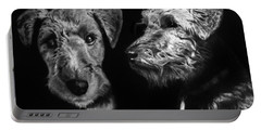 Portable Battery Charger featuring the drawing Keeper The Welsh Terrier by Peter Piatt