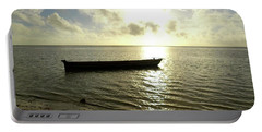 Kenyan Wooden Dhow At Sunrise Portable Battery Charger by Exploramum Exploramum
