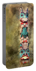 Ketchikan Alaska Totem Pole Portable Battery Charger by Bellesouth Studio