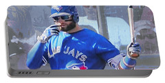 Kevin Pillar At Bat Portable Battery Charger by Nina Silver