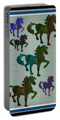 Kids Fun Gallery Horse Prancing Art Made Of Jungle Green Wild Colors Portable Battery Charger by Navin Joshi