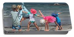 Kid's Yoga Class On Wingaersheek Beach Portable Battery Charger