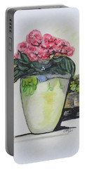 Portable Battery Charger featuring the painting Kimberly's Castellabate Flower Pot by Clyde J Kell