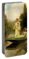 King Henry John Yeend Two Ladies Punting On The River Portable Battery Charger