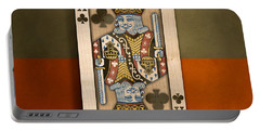 King Of Clubs In Wood Portable Battery Charger