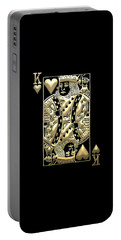 King Of Hearts In Gold On Black Portable Battery Charger