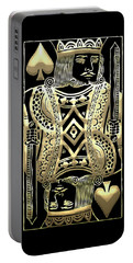 King Of Spades In Gold On Black   Portable Battery Charger