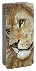 Portable Battery Charger featuring the drawing King Of The Jungle by Heidi Kriel