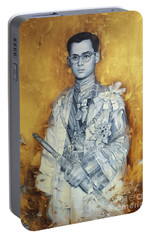 Portable Battery Charger featuring the painting King Phumiphol by Chonkhet Phanwichien