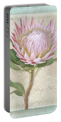 Portable Battery Charger featuring the painting King Protea Blossom - Vintage Style Botanical Floral 1 by Audrey Jeanne Roberts