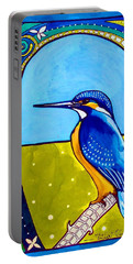Portable Battery Charger featuring the painting Kingfisher by Dora Hathazi Mendes