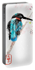 Kingfisher In Late Spring Snow Portable Battery Charger