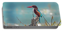 Kingfisher On A Stump Portable Battery Charger by Pravine Chester