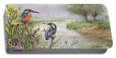 Kingfishers On The Riverbank Portable Battery Charger