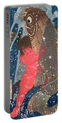 Kintoki Swims Up The Waterfall Portable Battery Charger by Kuniyoshi
