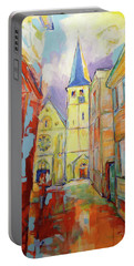 Portable Battery Charger featuring the painting Kirche Und Altstadt Mettmann by Koro Arandia