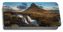 Portable Battery Charger featuring the photograph Kirkjufellsfoss Waterfall And Kirkjufell Mountain, Iceland by Pradeep Raja Prints
