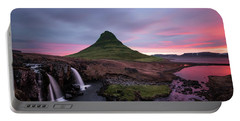 Kirkjufellsfoss Waterfalls Iceland Portrait Version Portable Battery Charger