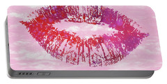 Portable Battery Charger featuring the mixed media Kiss Like You Mean It by Dan Sproul